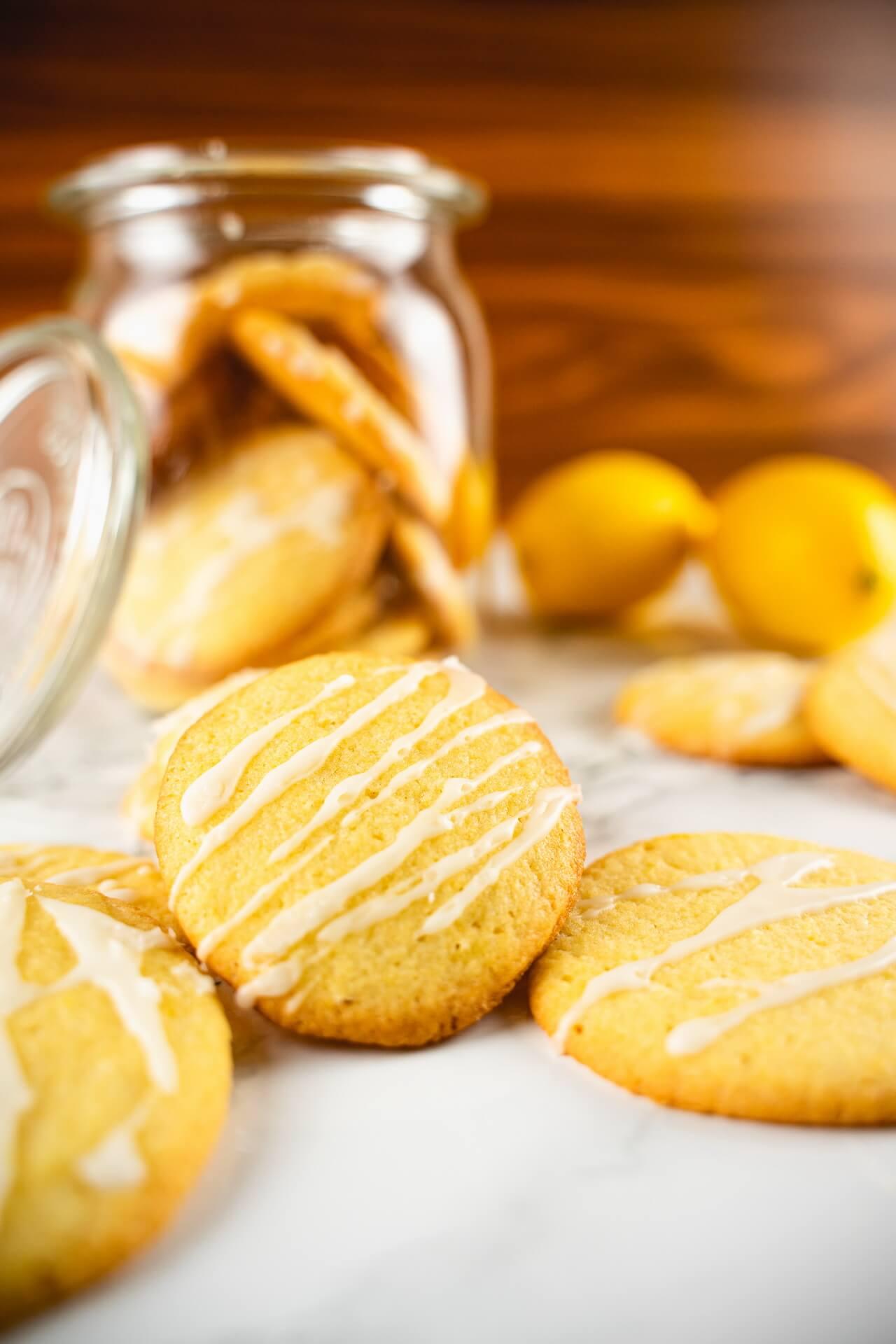 Lemon Sugar Cookies With Cookie Jar Vertical