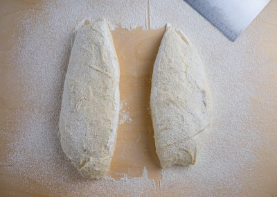 Quick And Easy Ciabatta Bread Shaping Devide In Two