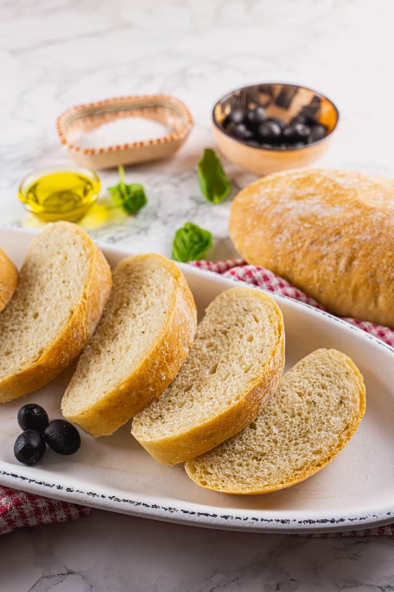 Quick And Easy Ciabatta Bread Slices Vertical