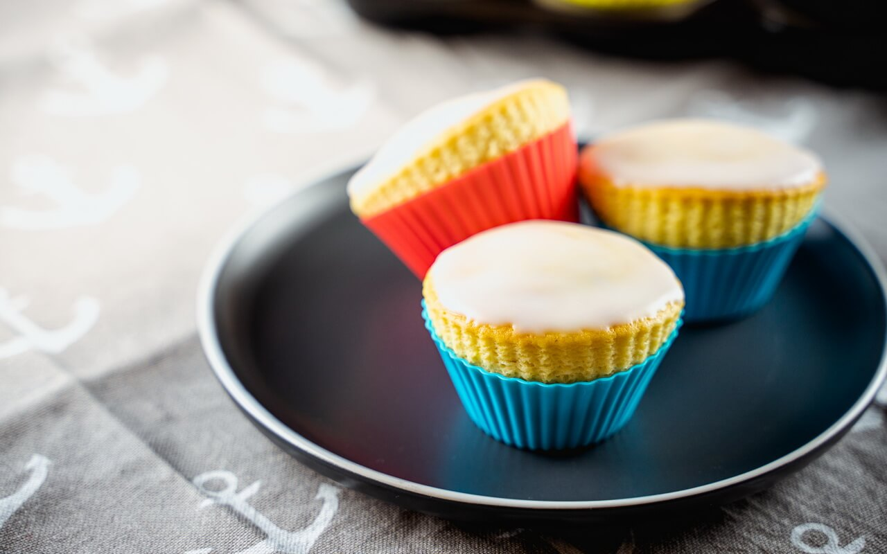 Basic Muffin Recipe With Sugar Glaze On A Plate