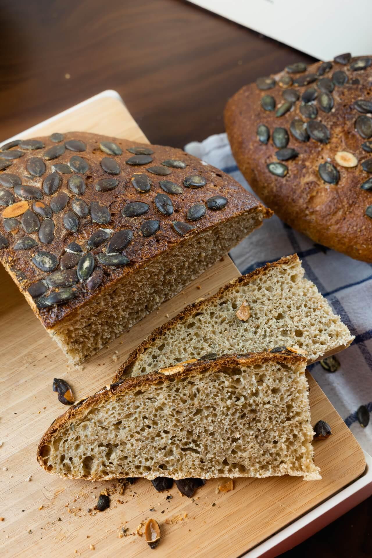 Hearty Pumpkin Seed Sourdough Bread Crumb Vertical