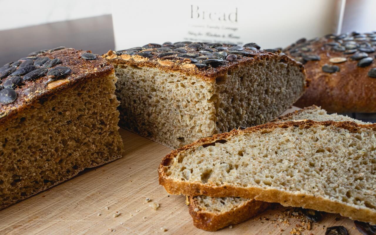 Hearty Pumpkin Seed Sourdough Bread Crumb
