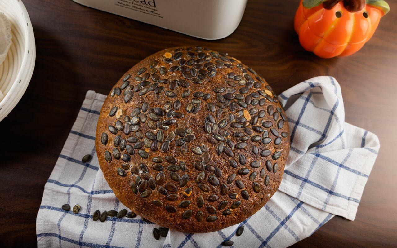 Hearty Pumpkin Seed Sourdough Bread Crust Top View