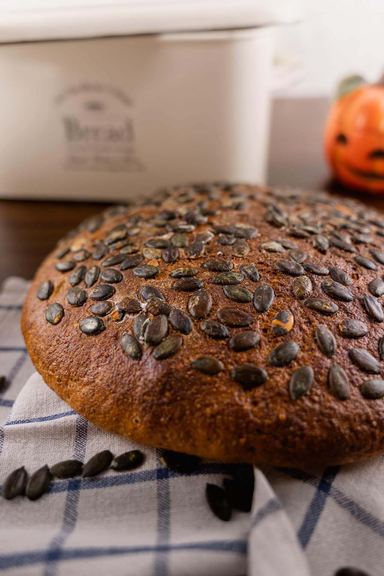 Hearty Pumpkin Seed Sourdough Bread Crust Vertical