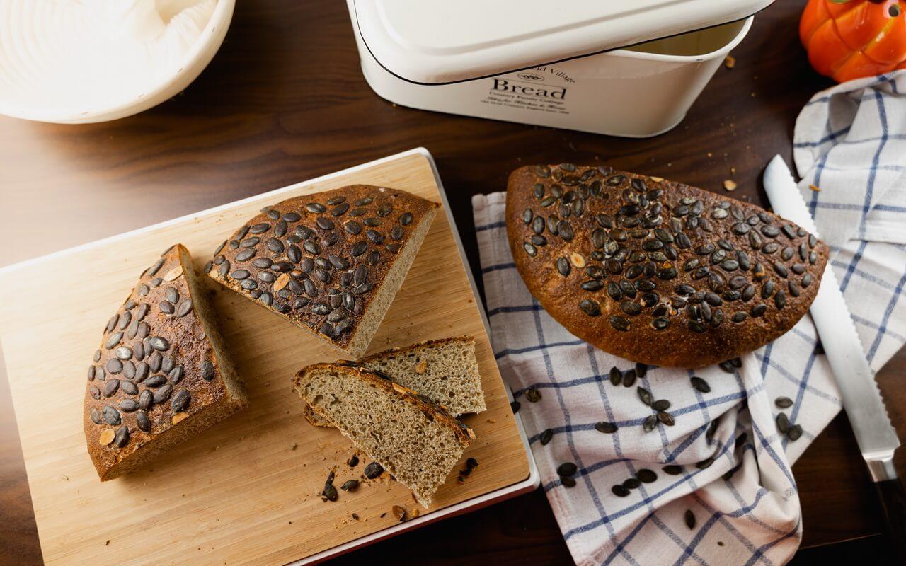Hearty Pumpkin Seed Sourdough Bread Slices