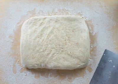 Simple Sourdough Breakfast Rolls Getting In Rectengular Shape