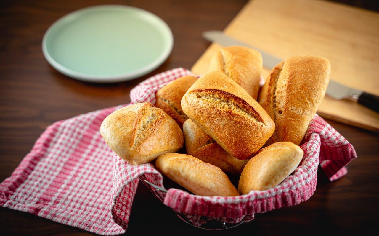 Simple Sourdough Breakfast Rolls In Basket