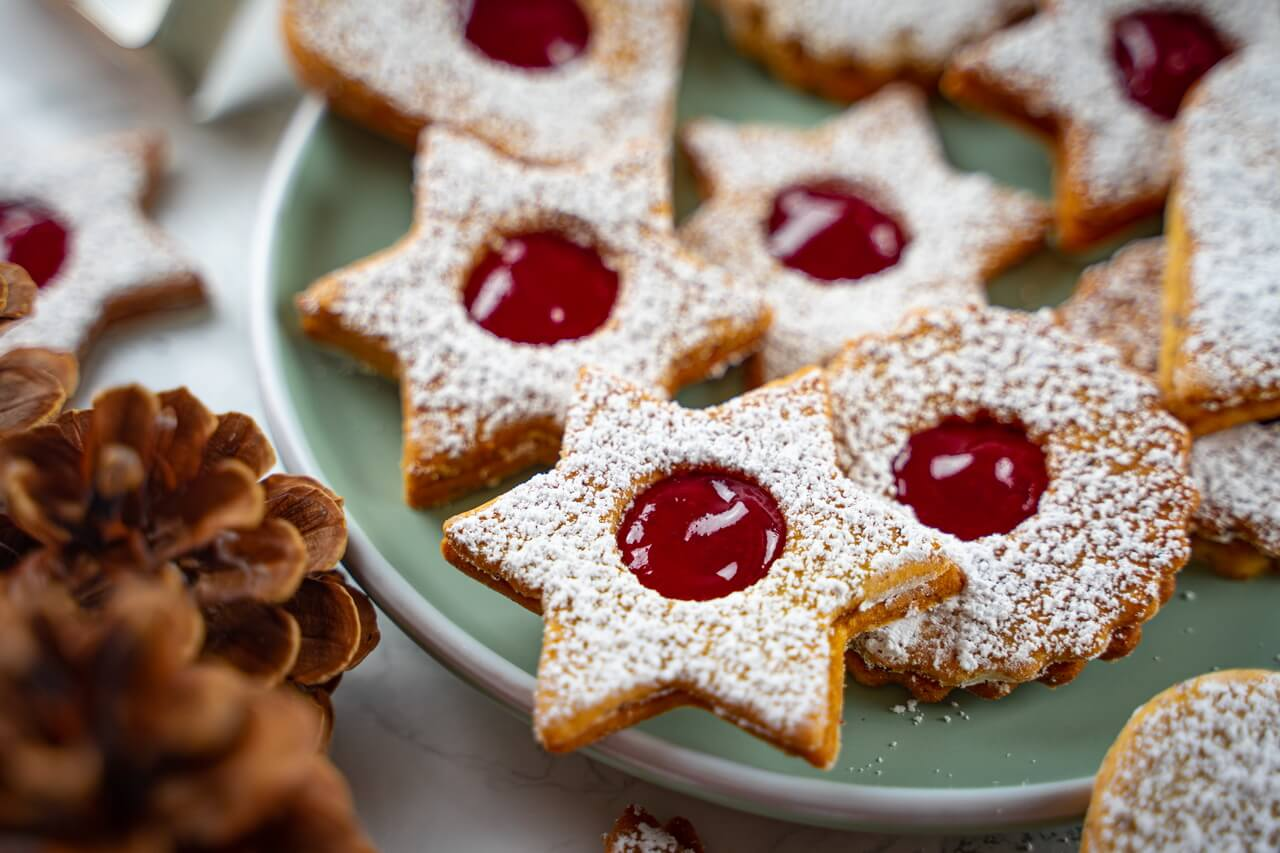 Traditional Linzer Cookies Close up On Plate