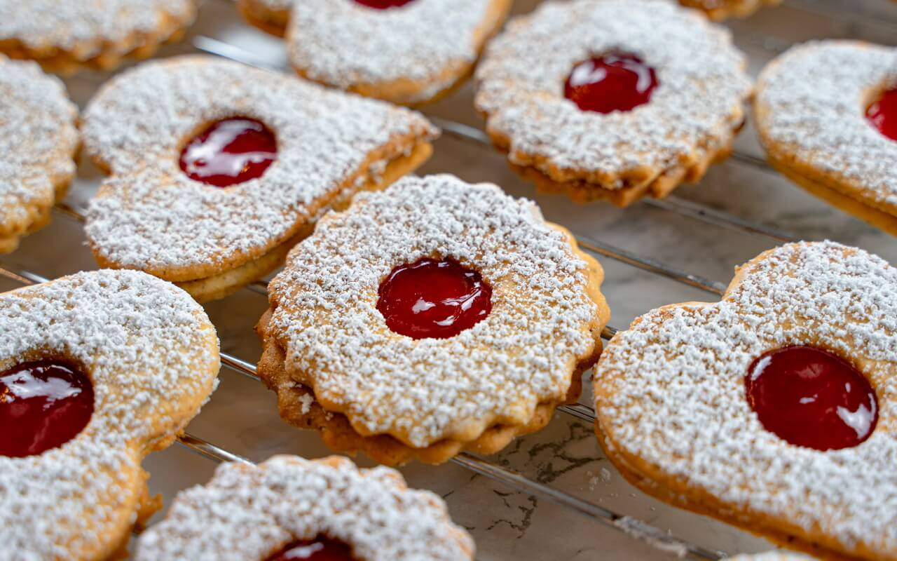 Traditional Linzer Cookies Close up