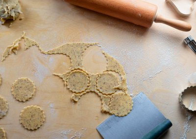 Traditional Linzer Cookies Remove Cut Out Cookies With Bench Knife