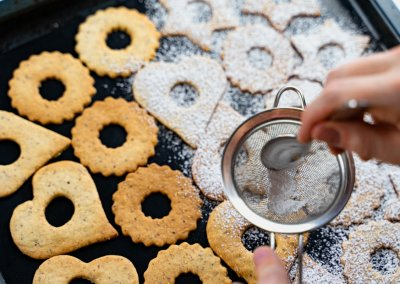 Traditional Linzer Cookies Sift Powdered Sugar On Top Of Top Cookies