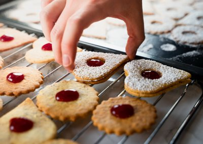Traditional Linzer Cookies Stack Top Cookie On Bottom Cookie 1