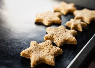 Zimtsterne Cinnamon Star Christmas Cookies Shaped Dough Close up