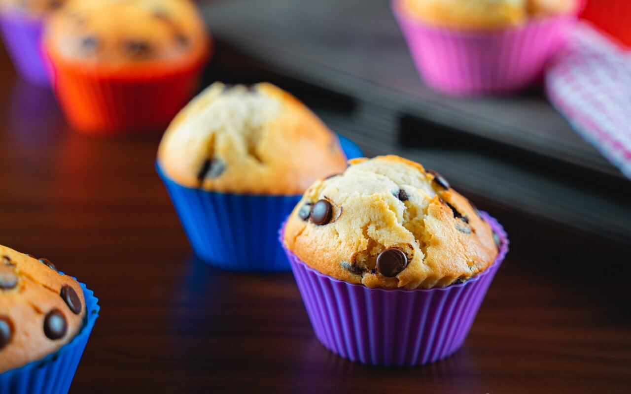 Chocolate Chip Muffins Single Close up