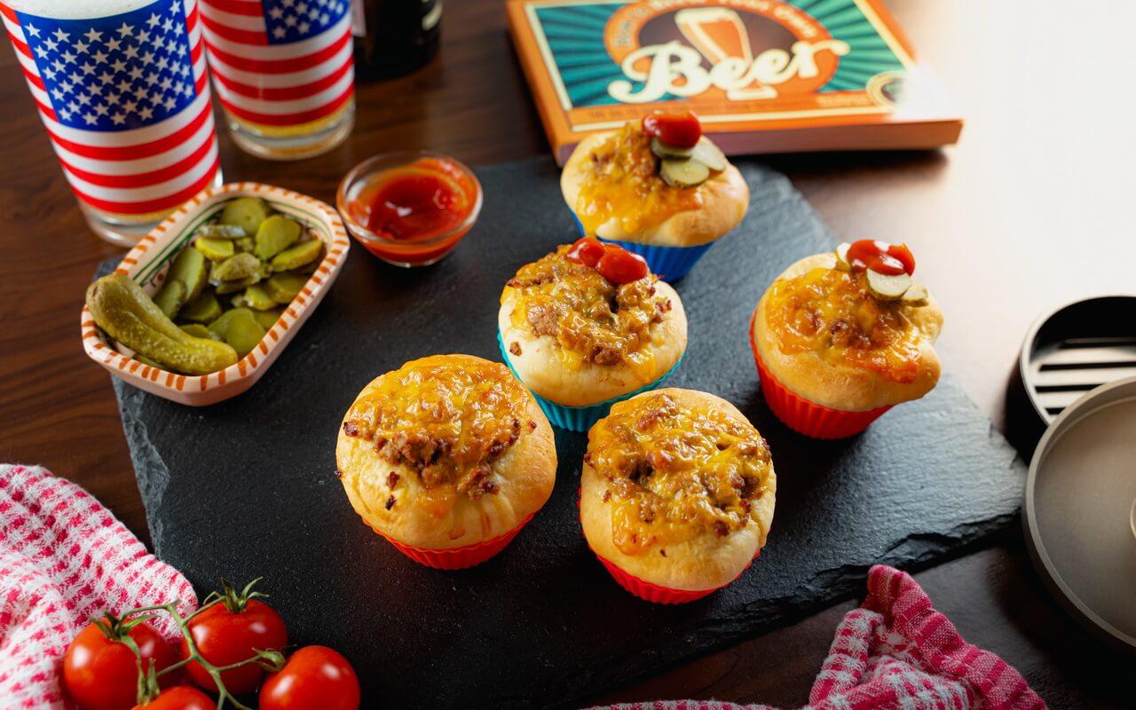 Mini Cheeseburger Muffins Top View
